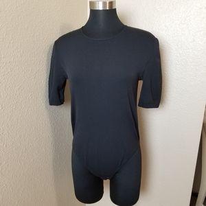 Wolford Cotton Velvet Black Bodysuit Large